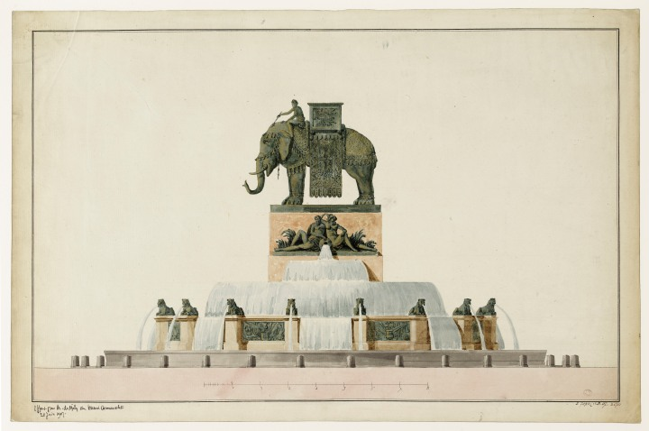 Projet pour la fontaine de l'Eléphant place de la Bastille
