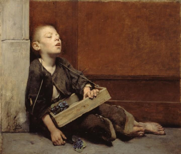 """Fernand Pelez (1848-1913). """"Martyr"""" ou """"Le marchand de violettes"""". Huile sur toile, vers 1883. Musée des Beaux-Arts de la Ville de Paris, Petit Palais."""