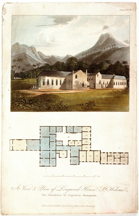 PAD2029, 'A View and Plan of Longwood House, St Helena The Residence of Napoleon Bonaparte. No. 13 of RAckermann's Repository of Arts &c...' by Ackermann (publisher), 1817.