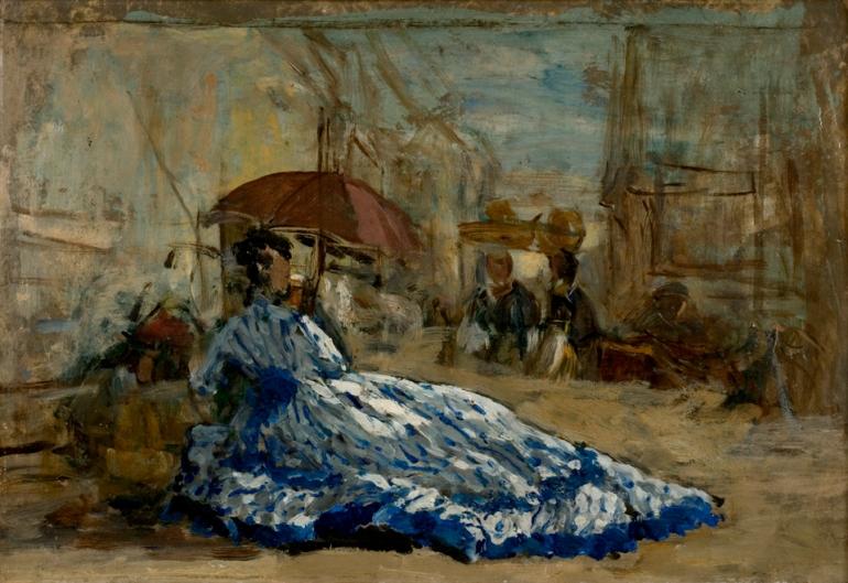 16. Femme en robe bleue sous une ombrelle, vers 1865